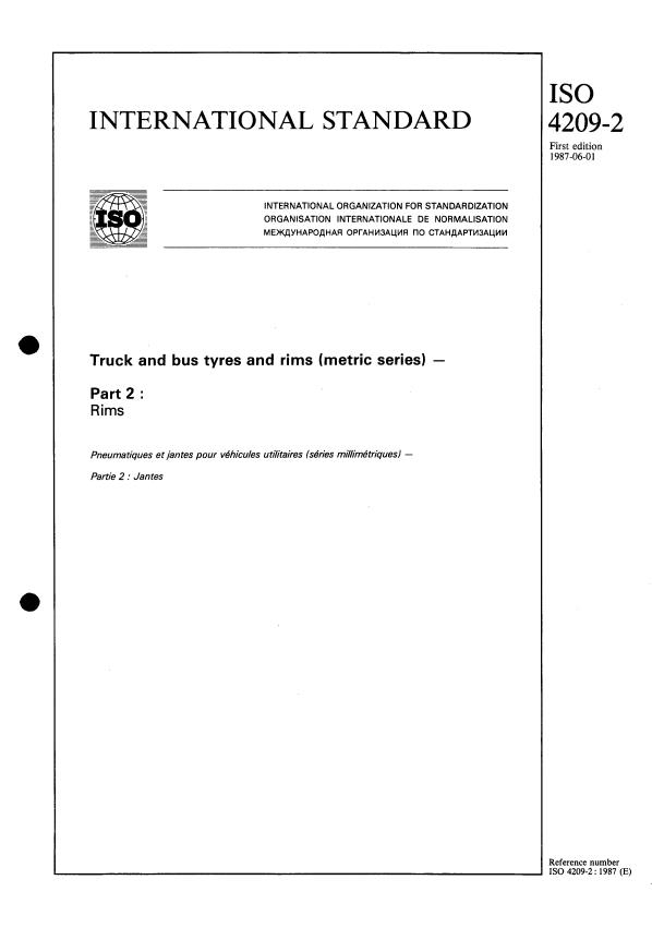 ISO 4209-2:1987 - Truck and bus tyres and rims (metric series)