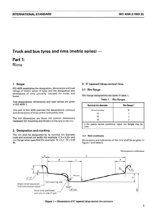 ISO 4209-2:1993 - Truck and bus tyres and rims (metric series)