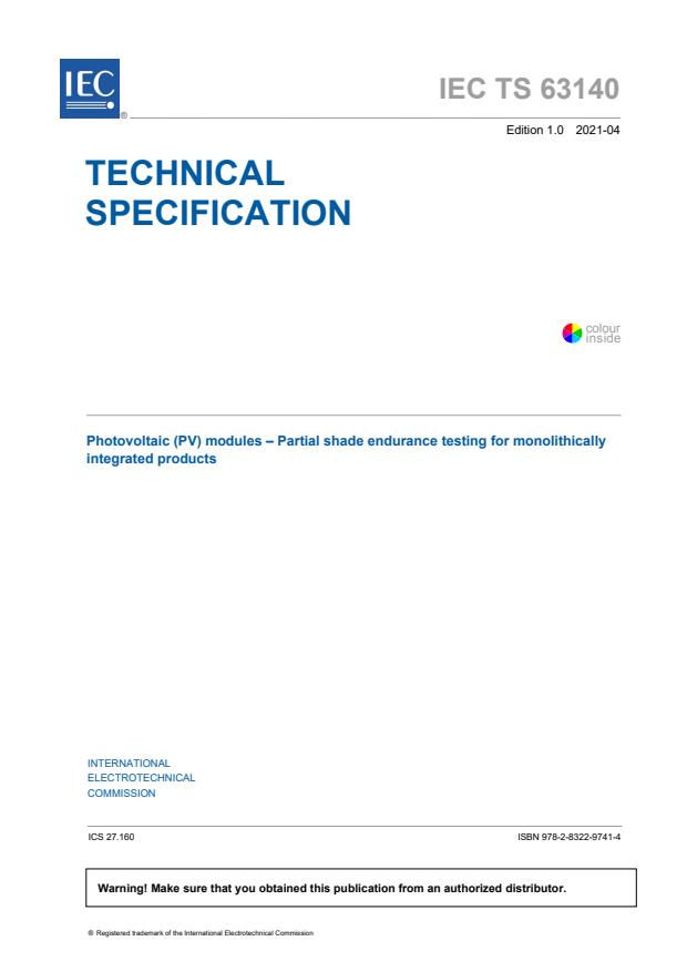 IEC TS 63140:2021 - Photovoltaic (PV) modules - Partial shade endurance testing for monolithically integrated products