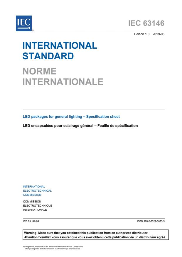 IEC 63146:2019 - LED packages for general lighting - Specification sheet