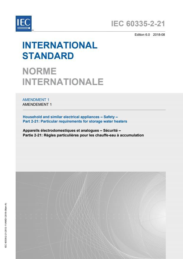 IEC 60335-2-21:2012/AMD1:2018