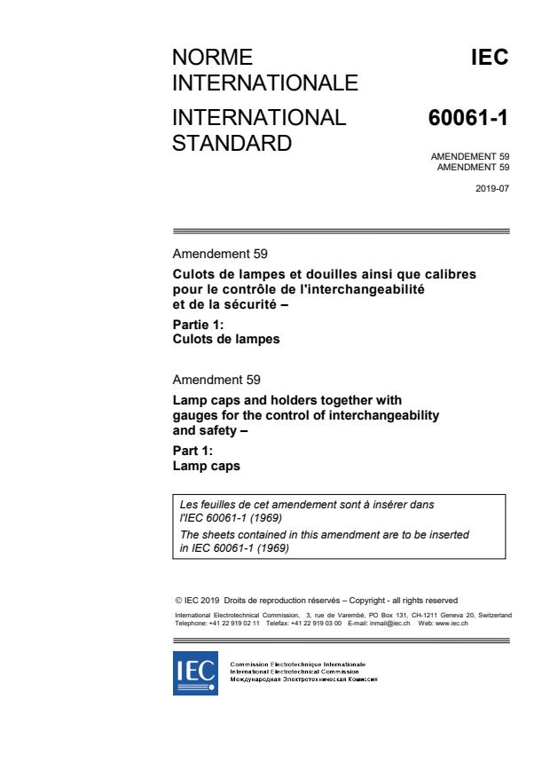 IEC 60061-1:1969/AMD59:2019 - Amendment 59 - Lamp caps and holders together with gauges for the control of interchangeability and safety - Part 1: Lamps caps