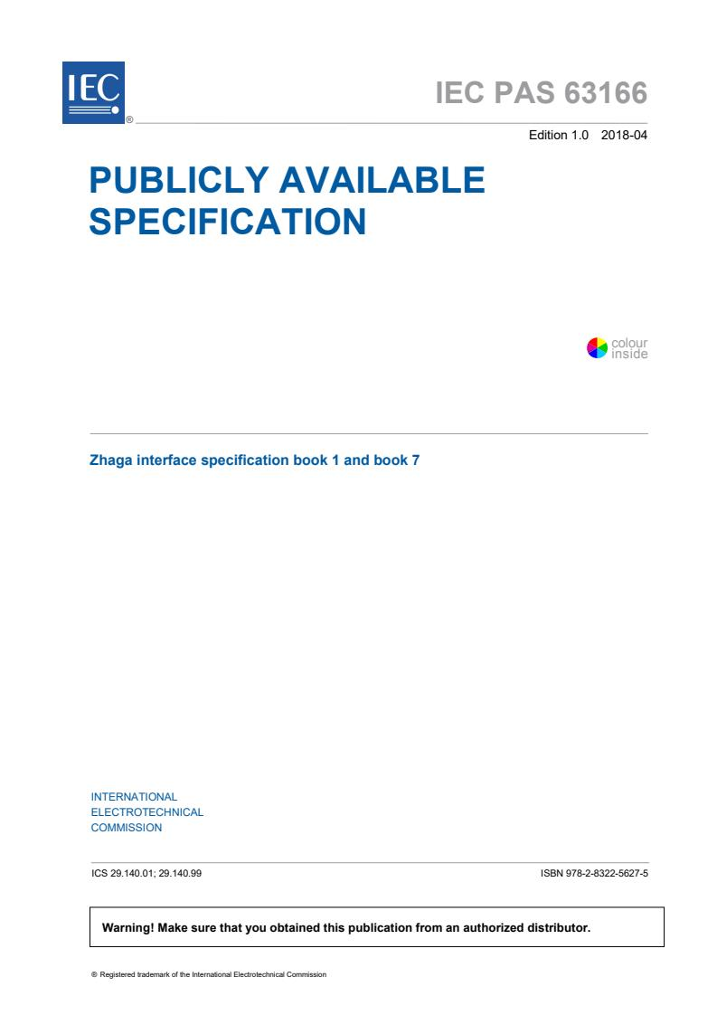 IEC PAS 63166:2018 - Zhaga interface specification Book 1 and Book 7