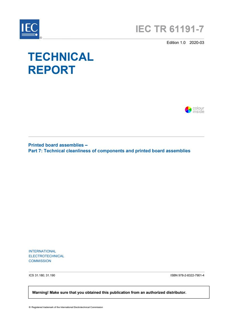IEC TR 61191-7:2020 - Printed board assemblies - Part 7: Technical cleanliness of components and printed board assemblies