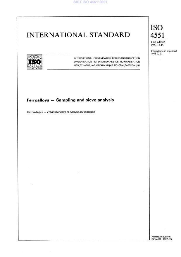 SIST ISO 4551:2001