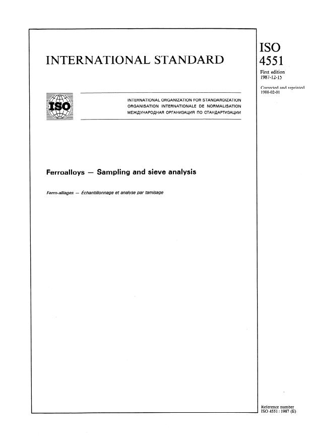 ISO 4551:1987 - Ferroalloys -- Sampling and sieve analysis