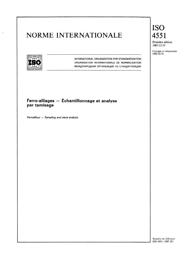 ISO 4551:1987 - Ferro-alliages -- Échantillonnage et analyse par tamisage