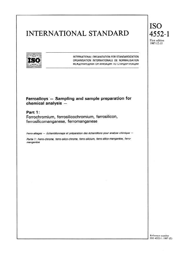 ISO 4552-1:1987 - Ferroalloys -- Sampling and sample preparation for chemical analysis