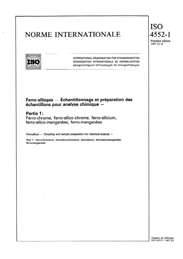 ISO 4552-1:1987 - Ferro-alliages -- Échantillonnage et préparation des échantillons pour analyse chimique