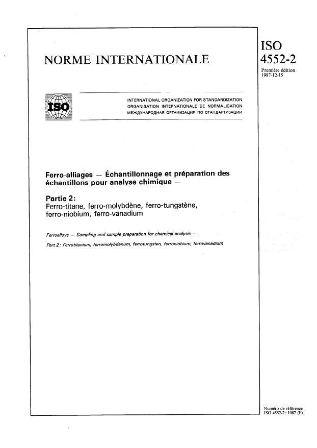 ISO 4552-2:1987 - Ferro-alliages -- Échantillonnage et préparation des échantillons pour analyse chimique