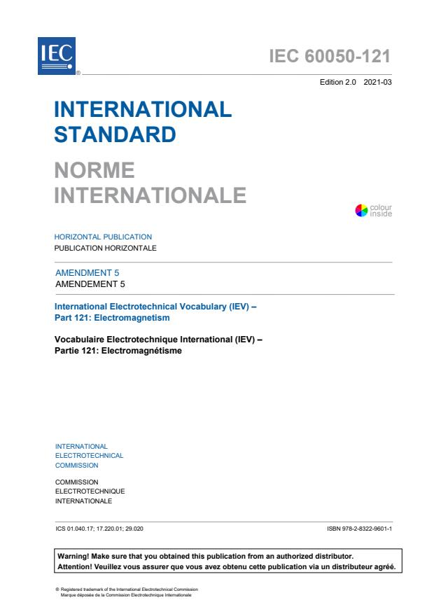 IEC 60050-121:1998/AMD5:2021 - Amendment 5 - International Electrotechnical Vocabulary (IEV) - Part 121: Electromagnetism