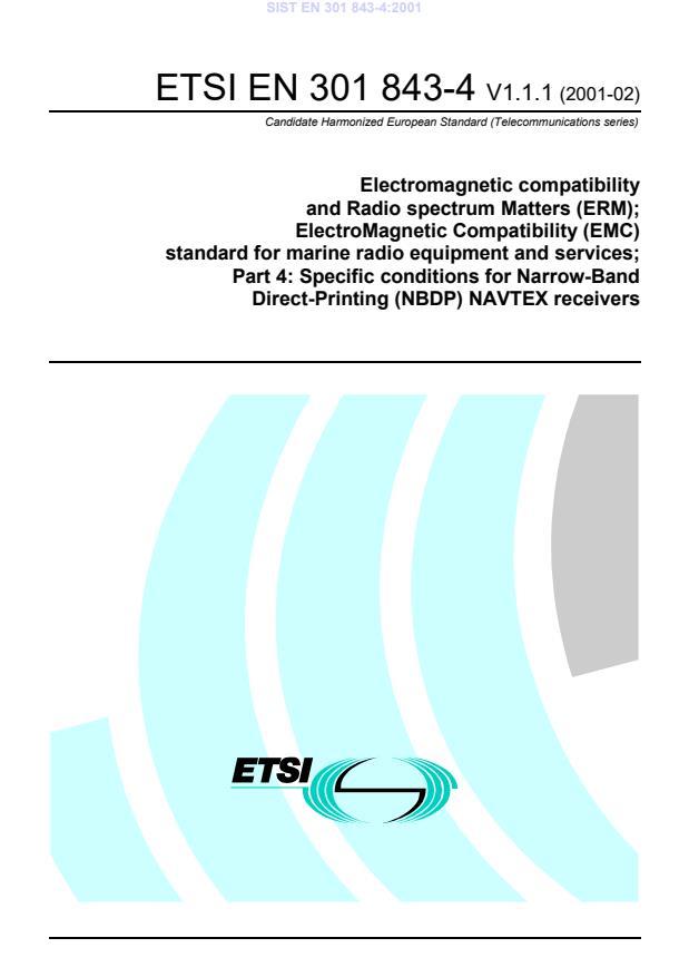SIST EN 301 843-4:2001 - ICS na coverju ni dopolnjen, ETSI dokument zaščiten