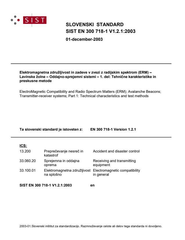 SIST EN 300 718-1 V1.2.1:2003