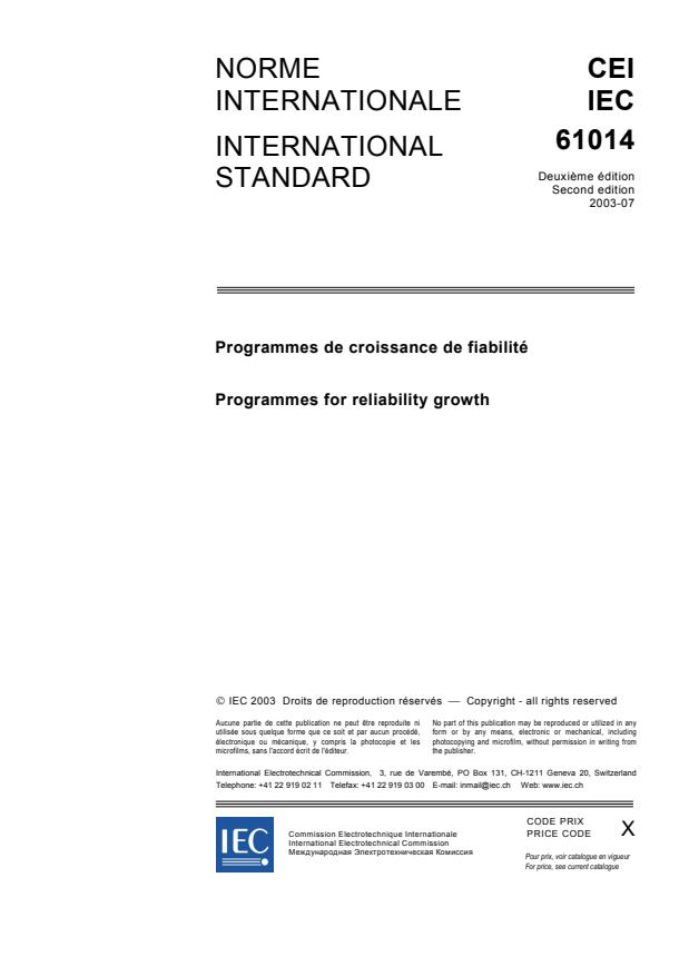 IEC 61014:2003 - Programmes for reliability growth
