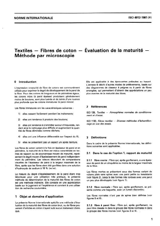 ISO 4912:1981 - Textiles -- Fibres de coton -- Évaluation de la maturité -- Méthode par microscopie