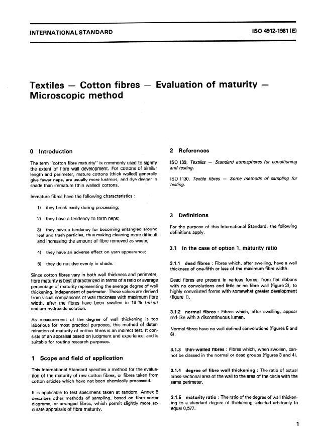 ISO 4912:1981 - Textiles -- Cotton fibres -- Evaluation of maturity -- Microscopic method