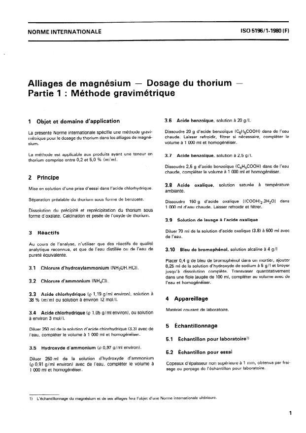 ISO 5196-1:1980 - Alliages de magnésium -- Dosage du thorium