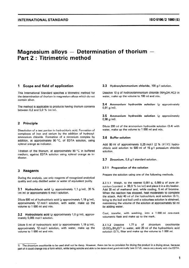 ISO 5196-2:1980 - Magnesium alloys -- Determination of thorium