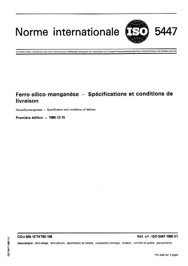 ISO 5447:1980 - Ferro-silico-manganese -- Spécifications et conditions de livraison