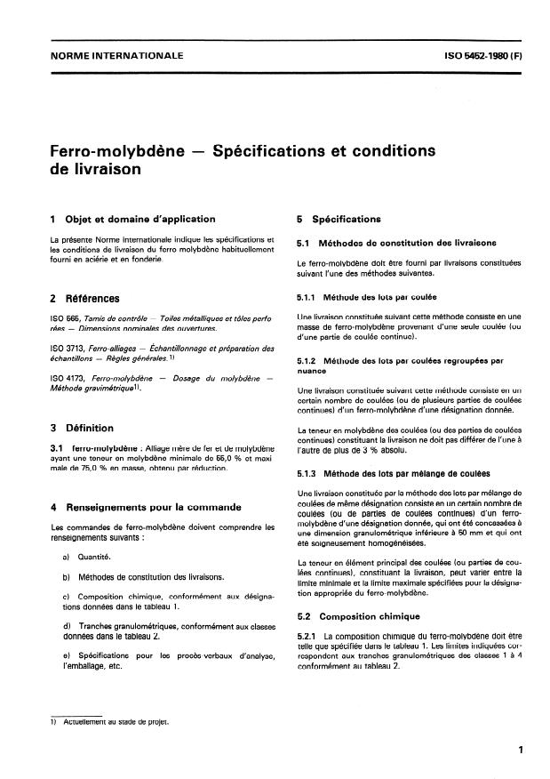 ISO 5452:1980 - Ferro-molybdene -- Spécifications et conditions de livraison