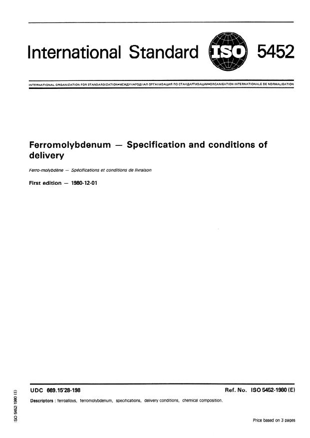 ISO 5452:1980 - Ferromolybdenum -- Specification and conditions of delivery
