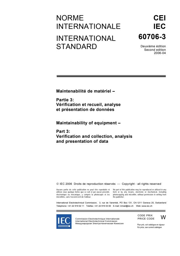 IEC 60706-3:2006 - Maintainability of equipment - Part 3: Verification and collection, analysis and presentation of data