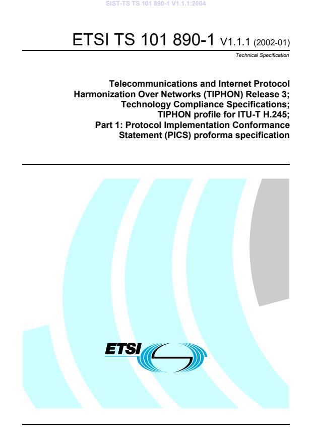 SIST-TS TS 101 890-1 V1.1.1:2004
