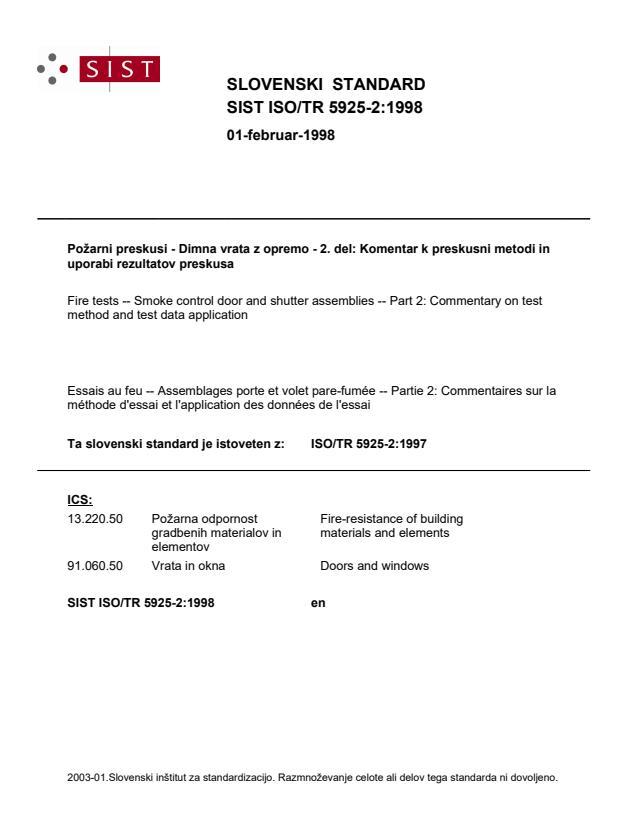 SIST ISO/TR 5925-2:1998