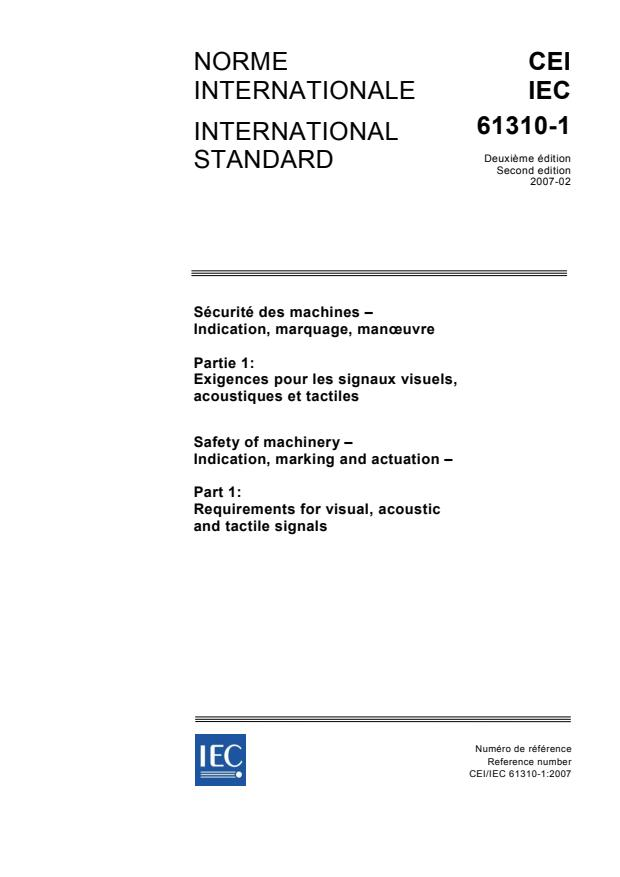 IEC 61310-1:2007 - Safety of machinery - Indication, marking and actuation - Part 1: Requirements for visual, acoustic and tactile signals