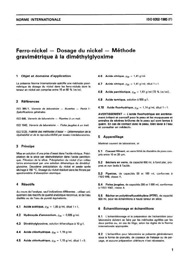 ISO 6352:1985 - Ferro-nickel -- Dosage du nickel -- Méthode gravimétrique a la diméthylglyoxime