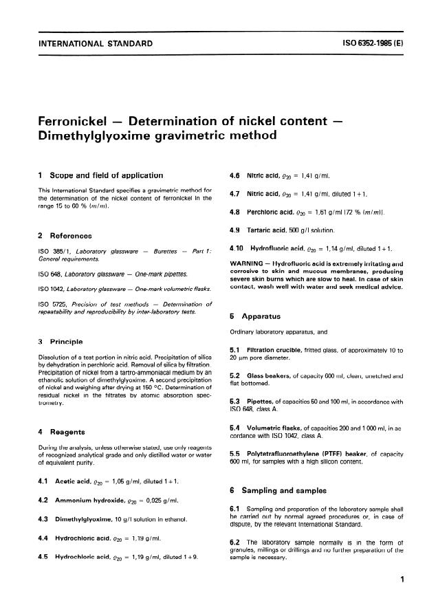 ISO 6352:1985 - Ferronickel -- Determination of nickel content -- Dimethylglyoxime gravimetric method