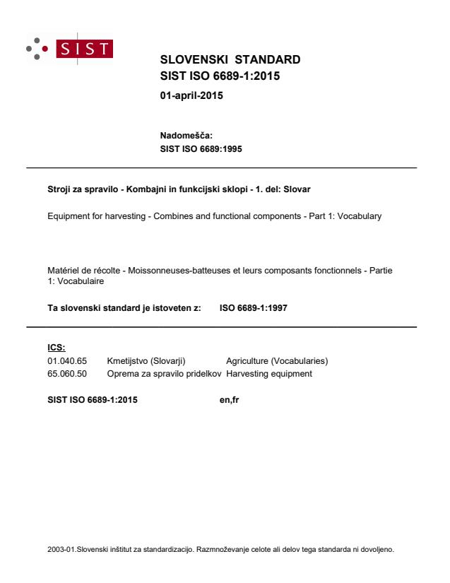 ISO 6689-1:1997