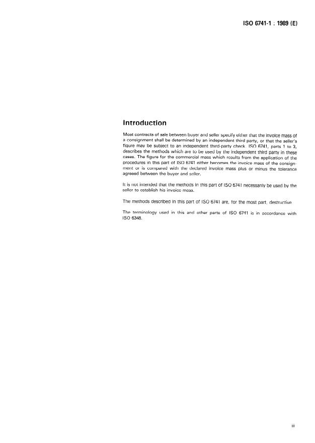 ISO 6741-1:1989 - Textiles -- Fibres and yarns -- Determination of commercial mass of consignments