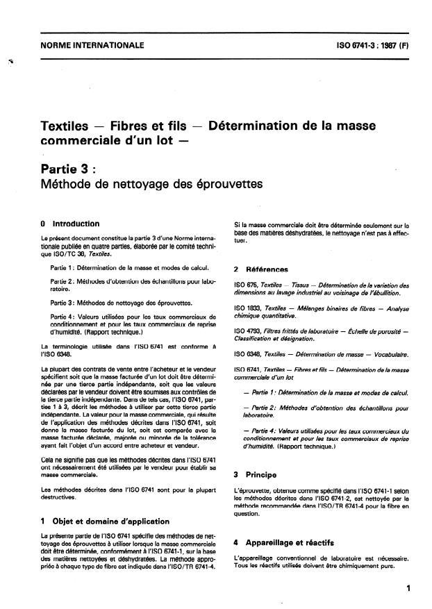 ISO 6741-3:1987 - Textiles -- Fibres et fils -- Détermination de la masse commerciale d'un lot