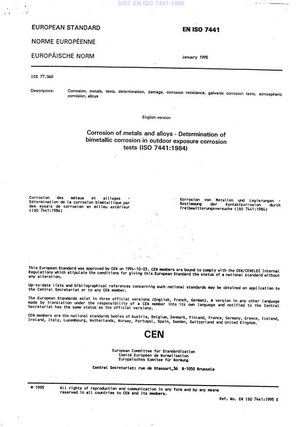 SIST EN ISO 7441:1999