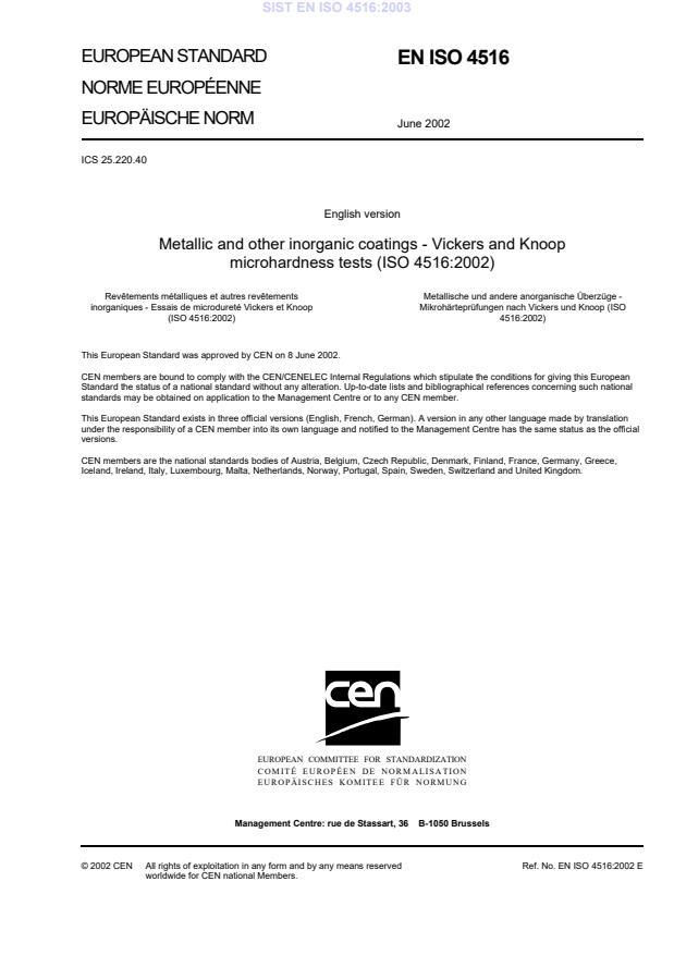 SIST EN ISO 4516:2003