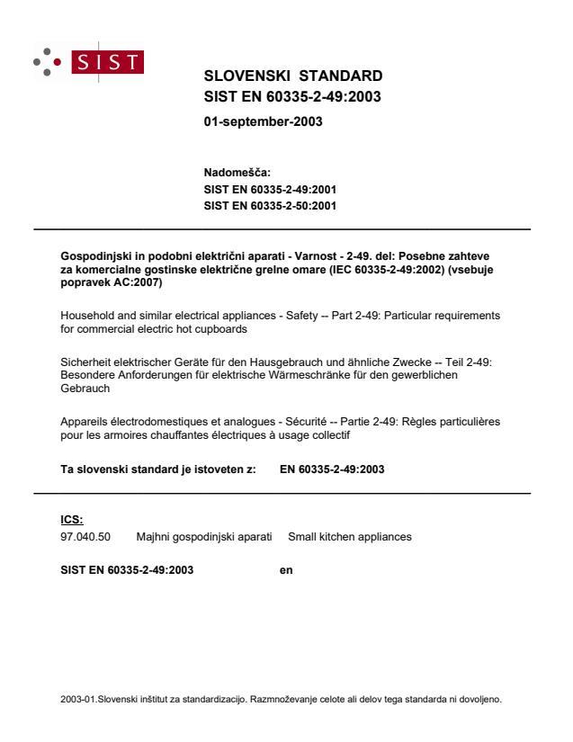 EN 60335-2-49:2003