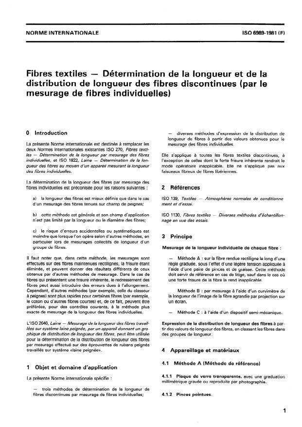 ISO 6989:1981 - Fibres textiles -- Détermination de la longueur et de la distribution de longueur des fibres discontinues (par le mesurage de fibres individuelles)
