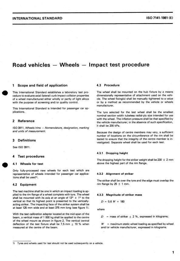 ISO 7141:1981 - Road vehicles -- Wheels -- Impact test procedure