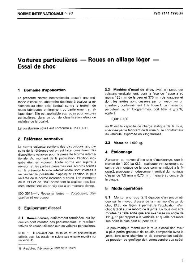 ISO 7141:1995 - Voitures particulieres -- Roues en alliage léger -- Essai de choc