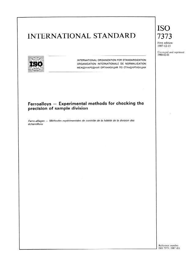 ISO 7373:1987 - Ferroalloys -- Experimental methods for checking the precision of sample division