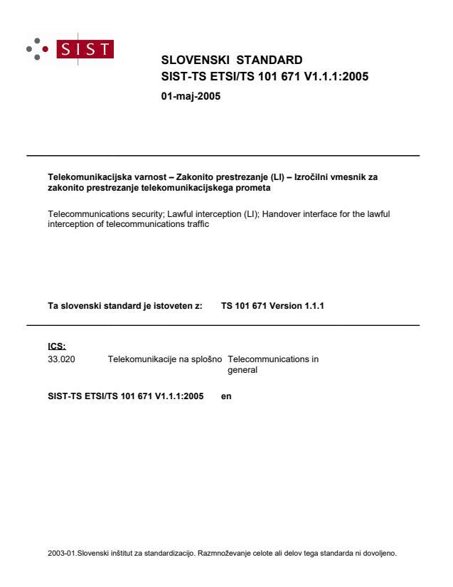SIST-TS ETSI/TS 101 671 V1.1.1:2005