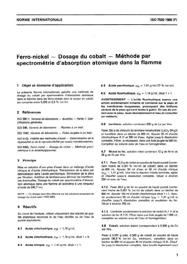 ISO 7520:1985 - Ferro-nickel -- Dosage du cobalt -- Méthode par spectrométrie d'absorption atomique dans la flamme