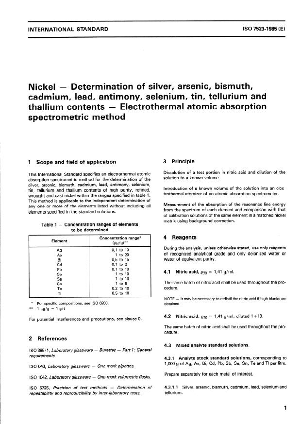 ISO 7523:1985 - Nickel -- Determination of silver, arsenic, bismuth, cadmium, lead, antimony, selenium, tin, tellurium and thallium contents -- Electrothermal atomic absorption spectrometric method