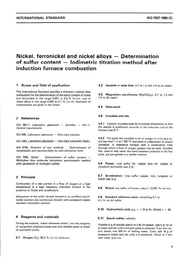 ISO 7527:1985 - Nickel, ferronickel and nickel alloys -- Determination of sulfur content -- Iodimetric titration method after induction furnace combustion
