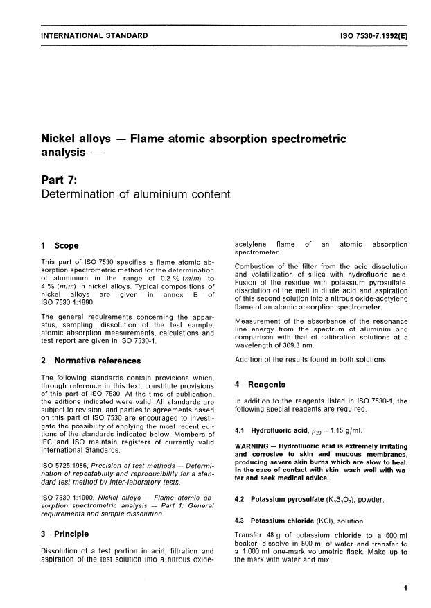 ISO 7530-7:1992 - Nickel alloys -- Flame atomic absorption spectrometric analysis