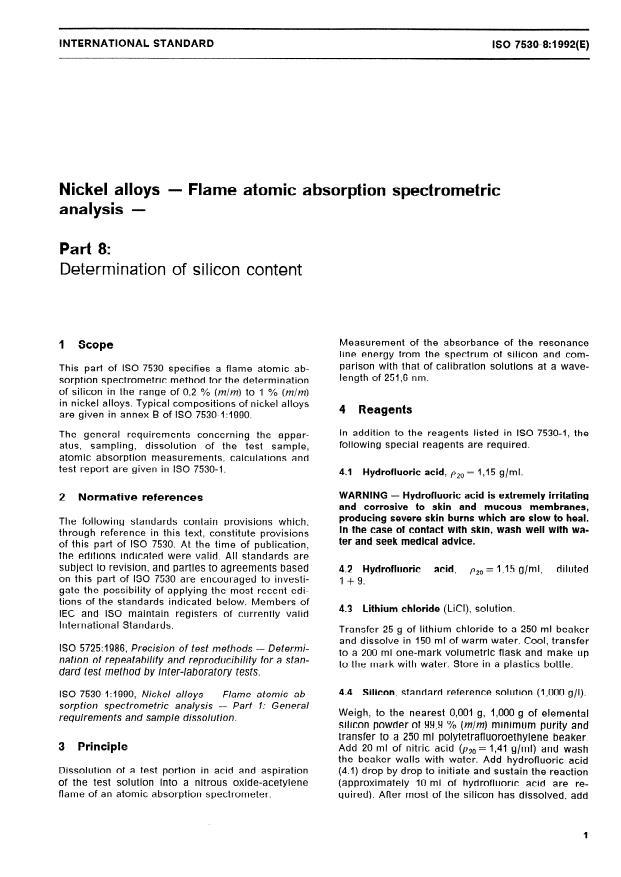 ISO 7530-8:1992 - Nickel alloys -- Flame atomic absorption spectrometric analysis