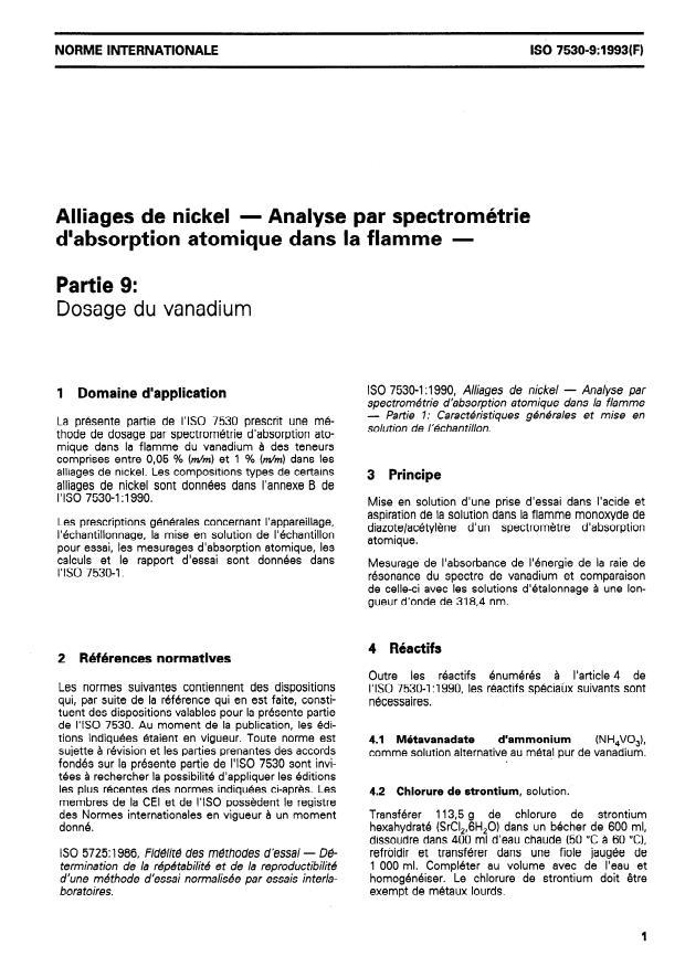 ISO 7530-9:1993 - Alliages de nickel -- Analyse par spectrométrie d'absorption atomique dans la flamme