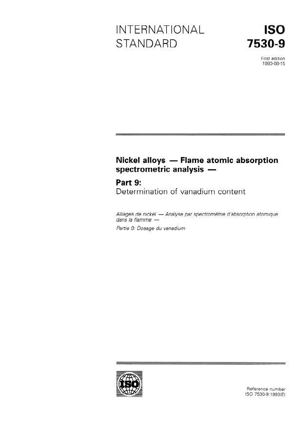 ISO 7530-9:1993 - Nickel alloys -- Flame atomic absorption spectrometric analysis