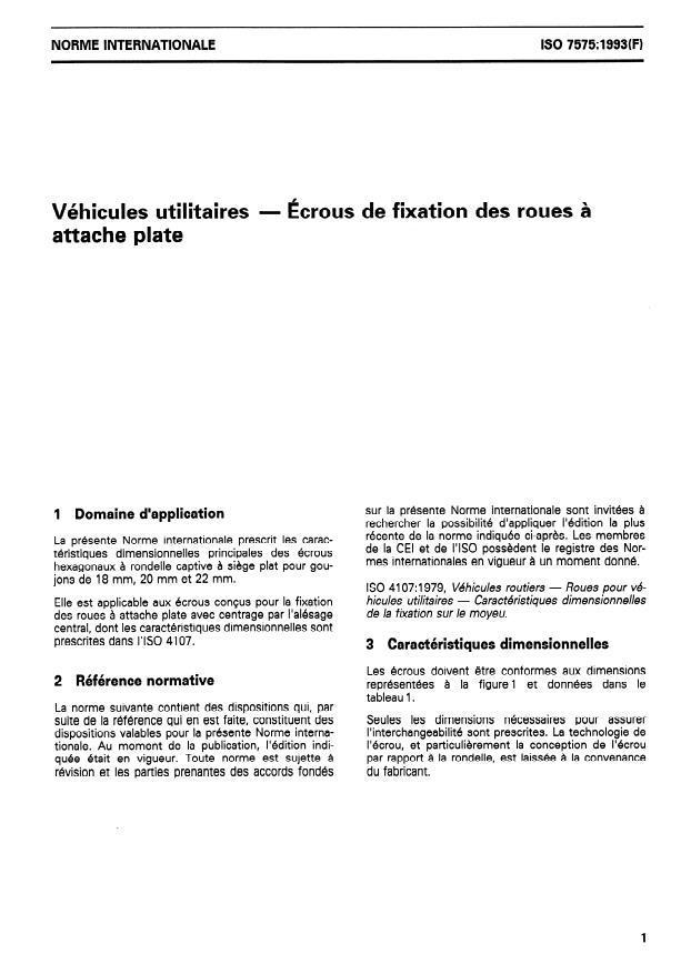 ISO 7575:1993 - Véhicules utilitaires -- Écrous de fixation des roues a attache plate